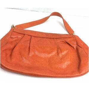 Zina Eva Bags - Zina Eva Orange Leather Clutch Purse Handbag